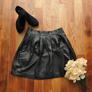 Skirts - Black Faux Leather Skirt Size XL